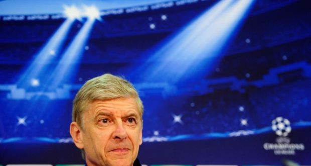 Arsenal manager Arsene Wenger addresses the media at Allianz Arena in Munich ahead of the Champions League round of 16 second leg match in Munich,. Photograph: Lennart Preiss/Bongarts/Getty Images