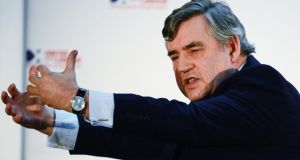 Former British prime minister Gordon Brown outlines his plans in Glasgow yesterday. Photograph: Jeff J Mitchell/Getty Images