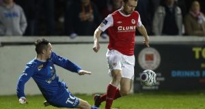 Conan Byrne of St Patrick's Athletic avoids a taclke at Richmond Park on Monday night. Photograph: Inpho/Donall Farmer