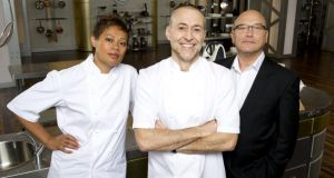 Michel Roux junior (centre) with his MasterChef the Professionals co-presenters Monica Galetti and Gregg Wallace