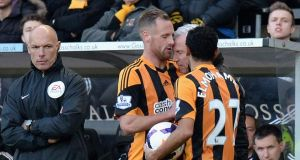 Alan Pardew clashes with David Meyler during the Premier League match between Hull City and Newcastle United on March 1st. Photograph: Tony Marshall/Getty Images