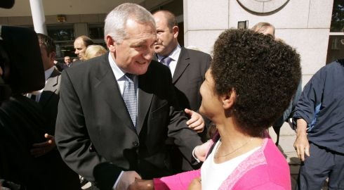 Then taoiseach Bertie Ahern meets Christine Buckley of the Aislinn centre after appearing at the Commission to Inquire into Child Abuse in Dublin in July 2004. Photographer: Dara Mac Donaill/The Irish Times