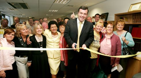 The late TD Brian Lenihan opening Aislinn's Education and Support Centre, Jervis House, with co-founders Christine Buckley and Carmel McDonnell Byrne (third left), in October 2005. Photograph: Cyril Byrne/The Irish Times
