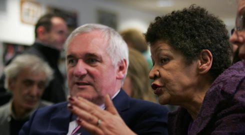 Christine Buckley with former taoiseach Bertie Ahern at a March 2009 ceremony at abuse survivors' centre Aislinn, where he presented certificates of achievement to individuals who graduated from a variety of educational courses. Photograph: Brenda Fitzsimons/The Irish Times