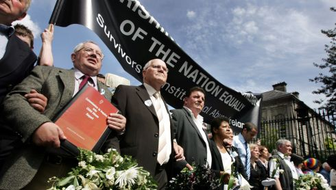 Noel Barry of Right of Place, Cork; Michael O'Brien of Right to Peace; John Kelly of Survivors of Child Abuse, and Christine Buckley of the Aislinn Centre, at a solidarity march in support of victims of abuse in Dublin in June 2009. Photograph: Eric Luke/The Irish Times