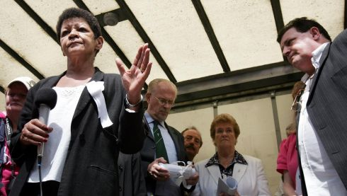 Christine Buckley speaking to the crowd at the solidarity march in support of victims of abuse in Dublin in June 2009. With her are Br Kevin Mullan, Sr Marian O'Connor and  John Kelly of Survivors of Child Abuse. Photograph: Eric Luke/The Irish Times