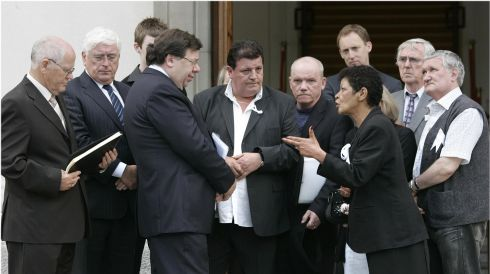 Arguing her case: Then taoiseach Brian Cowen accepts a petition from a deputation representing victims of institutional abuse at Government Buildings after the solidarity march in June 2009, with Christine Buckley at the centre. Photographer: Dara Mac Dónaill/The Irish Times