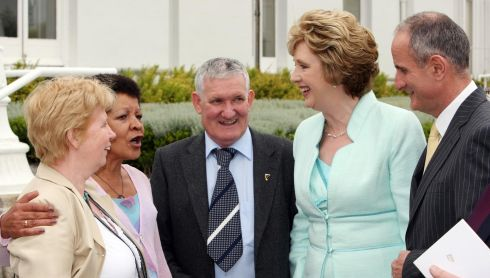 Then president of Ireland Mary McAleese with her husband Martin McAleese at right hosting a reception at Áras an Uachtaráin in June 2009 to recognise the suffering and bravery of those who experienced abuse as children in State institutions. Photograph: Maxwells