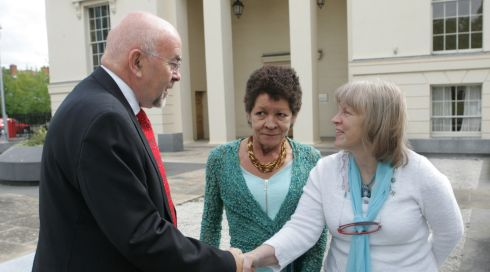 Minister for Education Ruairí Quinn  greets Christine Buckley and Carmel McDonnell Byrne, founders of Aislinn, at a meeting regarding survivors of abuse in Marlborough Street, Dublin, in July 2011. Photograph: Cyril Byrne/The Irish Times