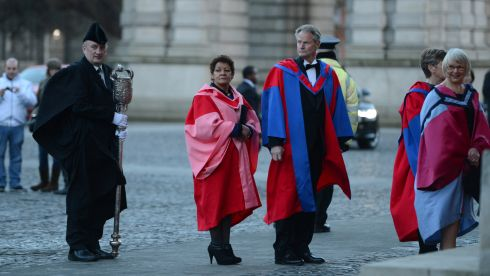 Christine Buckley beside American playwright Sam Shepard at Trinity College Dublin, where they received honorary degrees in December 2012.  Photograph: Frank Miller/The Irish Times