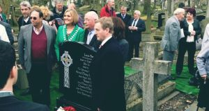 Enda Kenny at the graveside of Louis Brennan in London today. Photograph: Mark Hennessy