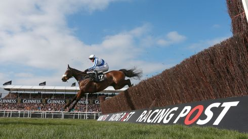 Holywell ridden by Richie McLernon on their way to winning the Baylis & Harding Affordable Luxury Handicap Chase. Photograph:David Davies/PA Wire