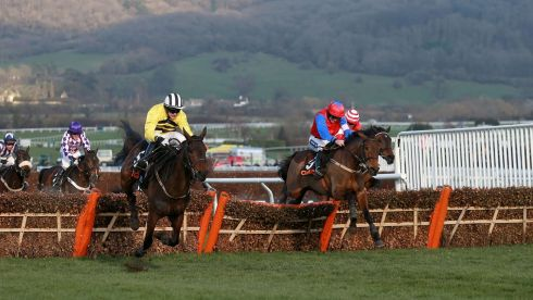Eventual winner Quevega ridden by Ruby Walsh (right) competing with Glens Melody ridden by Paul Townend (left) during the OLBG Mares' Hurdle. Photograph: David Davies/PA Wire