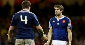 Pascal Pape and Hugo Bonneval argue after yet another French pass has gone astray during the Six Nations game against Wales in Cardiff. Photograph:  James Crombie/Inpho