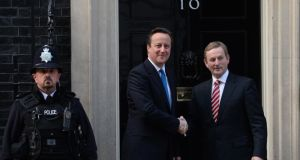 British prime minister David Cameron  greets Taoiseach Enda Kenny at  10 Downing Street in London. Photograph: Stefan Rousseau/PA Wire