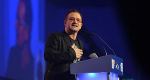 'Bono really did seem to believe he had brought some less-comfortable truths to the gathering, and his words support that belief.' Above, Bono delivers his speech during the European People's Party congress in Dublin. Photograph: Photograph: Alan Betson