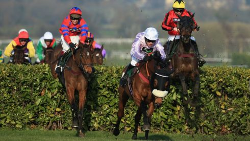 Richard Johnson on Balthazar King (left) rides to victory in the Glenfarclas Hanidcap Steeple Chase. Photograph: Richard Heathcote/Getty Images