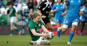 Claire Molloy became the first woman to score a try at the Aviva Stadium, touching down against Italy. Photograph: Ryan Byrne/Inpho