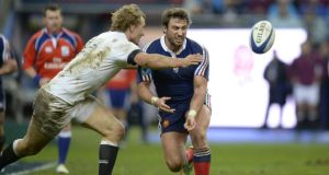 Maxime Medard in action against England. The France winger accepts that  critics of his side's play this eaosn have a valid point. Photograph:  Martin BureauAFP/Getty Images