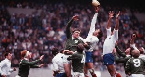 Donal Lenihan is beaten in the lineout during Ireland's 22-9 defeat to France in the Parc des Princes in 1982. Photograph: Billy Stickland/Inpho