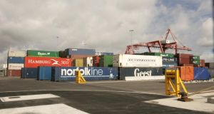 Ships in Dublin Port being loaded with goods for export. Photograph: Dara Mac Donaill / The Irish Times