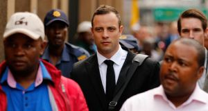 Olympic and Paralympic track star Oscar Pistorius arrives this morning  ahead of his continuing trial for the murder of his girlfriend Reeva Steenkamp, at the North Gauteng High Court in Pretoria, South Africa. Photograph: Siphiwe Sibeko/Reuters