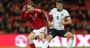 Nicklas Bendtner in action for Denmark against England   at Wembley recently. Photograph:   Mike Egerton/PA