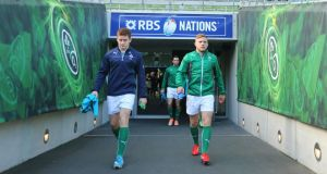 Ian Madigan (right) replaces Paddy Jackson on the Ireland bench for the Six Nations finale against France in Paris. Photograph: James Crombie/Inpho