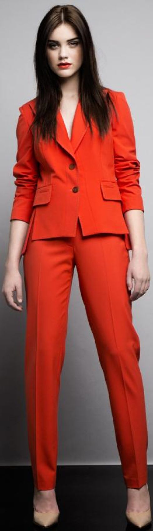 Orange tailored suit jacket, e259, trousers, e129, Kurt Geiger courts, e245 from BT2. Photograph: Ba