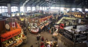 Saturday morning shoppers  at St Lawrence Market in downtown Toronto