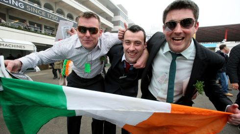 It's Paddy's Day in Cheltenham seemingly... Q flag-waving, shamrock and Paddywhackery.  David Gill, Declan Corbett and James Corbett from Castlebar, Co. Mayo, make their case for the country. Photograph: Inpho/Dan Sheridan