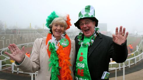 Louth and proud... Anne and Paddy Smith from Drogheda. Photograph: Inpho/Dan Sheridan