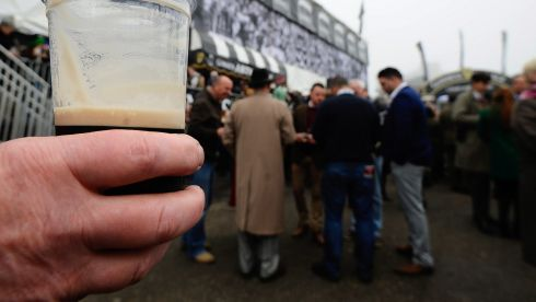 And where would a celebration of Irishness be without the Guinness cliche...  The Guinness village on St Patrick's Thursday at Cheltenham. Photograph:  Alan Crowhurst/Getty Images