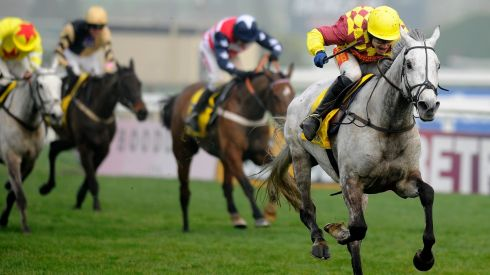 Tom Scudamore rides Dynaste home to victory in the Ryanair Chase. Photograph: Alan Crowhurst/Getty Images