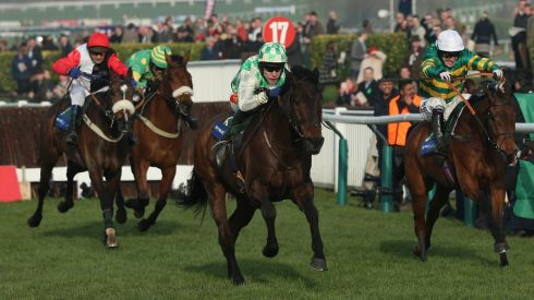 In the Byrne Group Plate,  Tom Scudamore rode Ballynagour (centre) to victory.  Photograph:  Andrew Redington/Getty Images