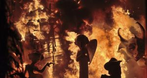 Giant puppets burning at the Las Fallas festival in Valencia