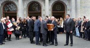 The funeral of campaigner Christine Buckley yesterday at Church of St Therese, Mount Merrion, Dublin. Photograph: Brenda Fitzsimons / The Irish Times