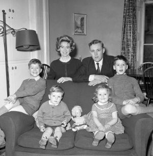 Tony Benn at his London home with his  wife, Caroline, and four children-left to right- Hilary, aged seven, Joshua aged two, Melissa aged 4, and Stephen, aged nine.  Photograph: PA Wire