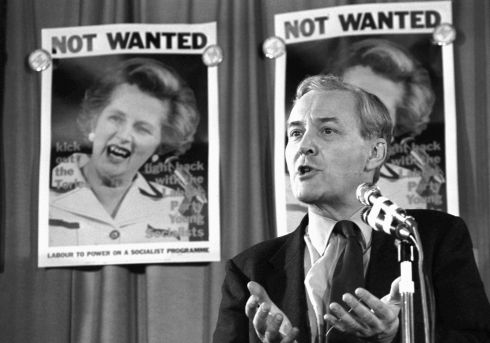 Pictured in 1981 with posters of the former Conservative Party prime minister Margaret Thatcher in the background. Photograph: PA Wire