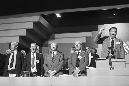 The Labour Party conference coming to a close in October 1984 with a rendition of the Red Flag. Pictured are NEC members Tony Benn and Alan Hadden, leader Neil Kinnock, general secretary Jim Mortimer, and conference chairman Eric Heffer. Photograph: PA Wire
