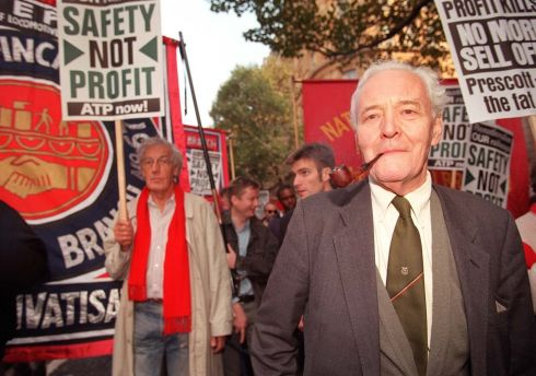 Benn joining rail union members at a demonstration in central London in 1999. Photograph: Neil Munns/PA Wire