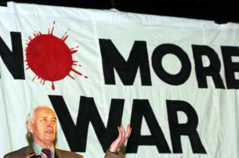 Benn addressing the Stop the War Coalition's annual conference in February 2004. Photograph: Johnny Green/PA Wire