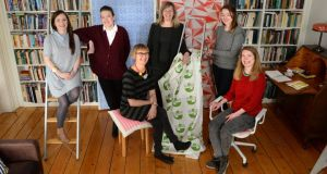 Print and textile artists from Print Block, left to right; Caroline Ryan, Olga Tiernan, Liz Walsh, Liz Nilsson, Jennifer Phelan and Ruth Doorley. Photograph: Dara Mac Dónaill