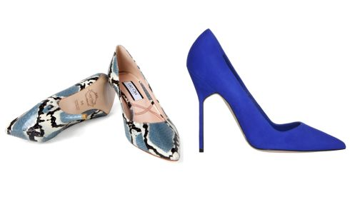 Black and clue snakeskin Ruby kitten heels, €245, Lucy Choi at Seagreen BB heel electric blue, €540, Manolo Blahnik at Brown Thomas