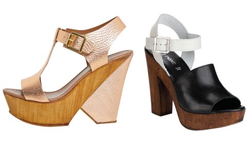 Leather metallic sandal, €60, available April, Savida at Dunnes Stores Mono block heels, €54, Next