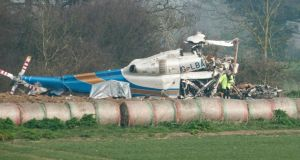The wreckage of a helicopter at the accident site in Gillingham, Norfolk. Photograph:  EPA/Jason Bye