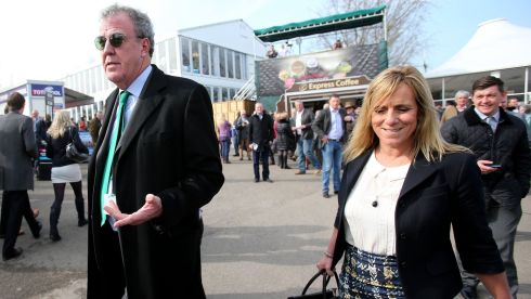 Jeremy Clarkson and wife Frances Cain arrive at Cheltenham. Photograph: Inpho/Dan Sheridan