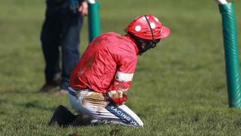 Ruby Walsh was taken to Gloucester Hospital for surgery on a broken arm injury following his bad fall.  Photograph: David Davies/PA Wire