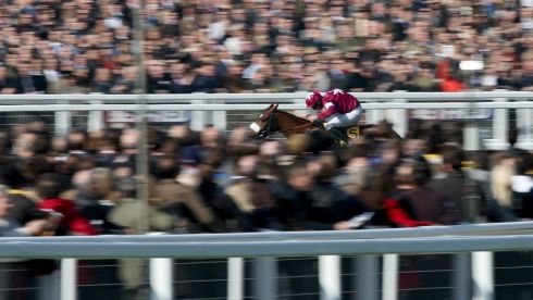 Davy Russell rides Tiger Roll to victory in the Triumph Hurdle.  Photograph: Andrew Redington/Getty Images
