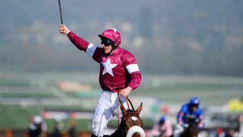 Davy Russell and Tiger Roll celebrate winning the Triumph Hurdle. Photograph:  Alan Crowhurst/Getty Images